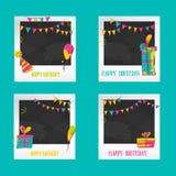 Geburtstags-Fotorahmen Dekorative Fotorahmenschablonen für Baby, Ereignisse oder Gedächtnisse Einklebebuchfoto-Rahmenkonzept Stockfotos