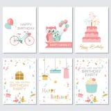 Geburtstags-, Gruß- und Einladungskarten mit Kuchen, Ballonen und Vögeln Stockbilder