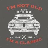 70 Geburtstags-Jahrestags-Geschenk-T-Shirt I m nicht altes I m ein Klassiker, König der Straße fasst mit Oldtimer ab Im Jahre 194 stock abbildung