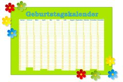 Geburtstags-Kalender vektor abbildung