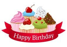Geburtstags-kleine Kuchen u. rotes Band lizenzfreie abbildung