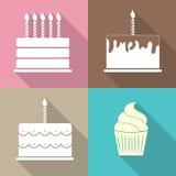 Geburtstags-Kuchen-flache Netz-Ikonen-Vektor-Illustration Lizenzfreie Stockfotografie
