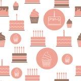 Geburtstags-Kuchen-flacher nahtloser Muster-Hintergrund Stockbilder