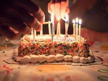 Geburtstags-Kuchen-Kerzen Stockfotografie