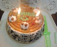 Geburtstags-Kuchen mit brennender Kerze lizenzfreies stockfoto
