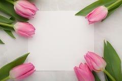 Geburtstags- oder Hochzeitsmodell mit Weißbuchliste, rosa Tulpe blüht auf Draufsicht des hellen Steinhintergrundes Schönheitstage Stockbild