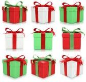 Geburtstags- oder Valentinstaggeschenkboxen eingestellt von den Geschenken Stockfotografie