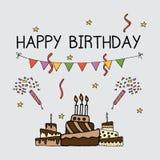 Geburtstagseinladungs-Kartensatzschablone lizenzfreie abbildung