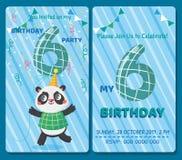 Geburtstagseinladungskarte mit nettem Tier stock abbildung