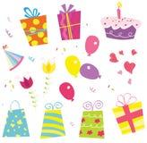 Geburtstagset. Geburtstagsfeier kann anfangen! Lizenzfreie Stockfotos
