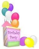 Geburtstagsfeier-Einladungsweißhintergrund Lizenzfreies Stockbild