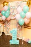 Geburtstagsfeier für das Kind eine Jahre alt Lizenzfreie Stockfotografie