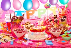 Geburtstagsfeier für Kinder Stockbild