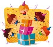 Geburtstagsfeier - große Geschenke Lizenzfreies Stockfoto