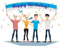 Geburtstagsfeier mit glücklichen jungen Leuten Lizenzfreie Stockbilder