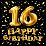 16. Geburtstagsfeier mit Goldballonen und bunten Konfettis, Funkeln Design der Illustration 3d für Ihre Grußkarte, Geburt Stockbilder