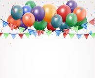 Geburtstagsfeierdesign mit Ballon und Konfettis Stockfotos