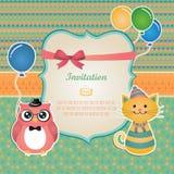 Geburtstagsfeiereinladungs-Kartendesign Stockbilder