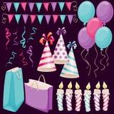 Geburtstagsfeierelemente Stockfotos
