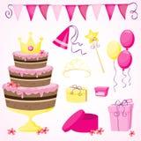 Geburtstagsfeierelemente des Mädchens Lizenzfreie Stockbilder