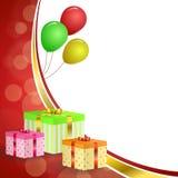 Geburtstagsfeiergeschenkbox-Grüns des Hintergrundes steigt rotes Gelb des abstrakten Goldband-Rahmenillustration im Ballon auf Stockfoto