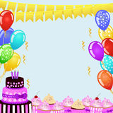 Geburtstagsfeierhintergrund mit Flaggenflaggen, Ballonen, Geburtstagskuchen und kleinen Kuchen Stockbild