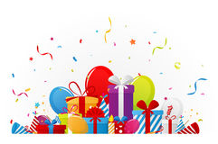 Geburtstagsfeierhintergrund mit Parteielementen Lizenzfreies Stockfoto