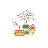 Geburtstagsfeierkarte Auch im corel abgehobenen Betrag Stockbild