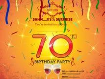 70. Geburtstagsfeierkartenschablone Stockfotos