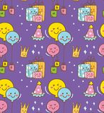 Geburtstagsgekritzel im kawaii Arthintergrund lizenzfreie abbildung