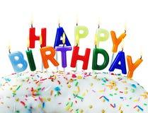 Geburtstagsgrüße von brennenden Kerzen lizenzfreie stockbilder