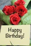 Geburtstagsgruß mit Rosen stockfotografie