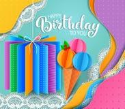 Geburtstagsgrußkarte mit Lage der Eiscreme und des farbigen Papiers des Geschenks lizenzfreies stockfoto
