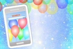 Geburtstagsgrußkarte oder -hintergrund mit Mobiltelefon Lizenzfreie Stockbilder
