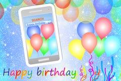 Geburtstagsgrußkarte oder -hintergrund mit Mobiltelefon Lizenzfreies Stockbild