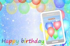 Geburtstagsgrußkarte oder -hintergrund mit Mobiltelefon Stockfotos