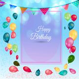 Geburtstagshintergrund mit bunten Ballonen und leerem Papier lizenzfreie stockfotografie