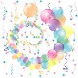 Geburtstagshintergrund mit bunten Ballonen und Serpentin Stock Abbildung