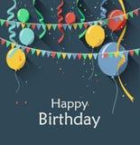 Geburtstagshintergrund mit Fliegen steigt im Ballon auf,/flache Designart Lizenzfreie Stockfotos