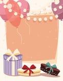 Geburtstagshintergrund mit Geschenken und Ballonen Lizenzfreie Stockbilder