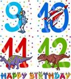 Geburtstagskarikaturdesign für Jungen Stockfotografie
