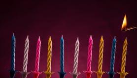 Geburtstagskerzen Stockfotos