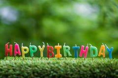 Geburtstagskerzen auf Gras Stockbild