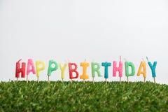 Geburtstagskerzen auf Gras Stockfotografie
