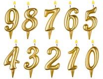 Geburtstagskerzen-Zahlsatz lokalisiert auf Weiß Stockbilder