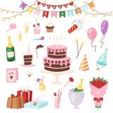 Geburtstagskinderparteikarikatur childs steigt glückliche Geburtskuchen- oder -kuchenfeier mit Geschenken und alles Gute zum Gebu vektor abbildung