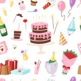 Geburtstagskinderparteivektorkarikatur childs steigt glückliche Geburtskuchen- oder -kuchenfeier mit Geschenken und alles Gute zu stock abbildung