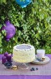 Geburtstagskuchen auf dem Tisch Gartenfest Lizenzfreies Stockfoto