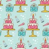 Geburtstagskuchen kawaii Hintergrund lizenzfreie abbildung