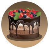 Geburtstagskuchen mit Beere Lizenzfreies Stockbild